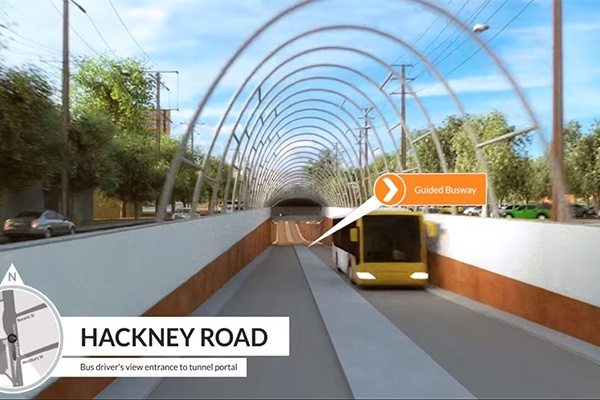 Guided busway using C-ITS technologies