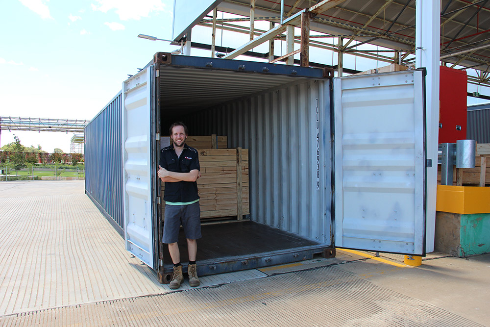 Team Leader David Hobbs closes the door on 162 IPMS control panels bound for Spain.Web