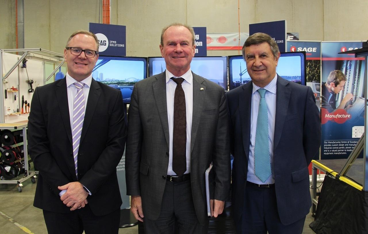 SAGE CEO Adrian Fahey, Minister for Defence Industries Martin Hamilton-Smith Navantia Australia President Paco Baron